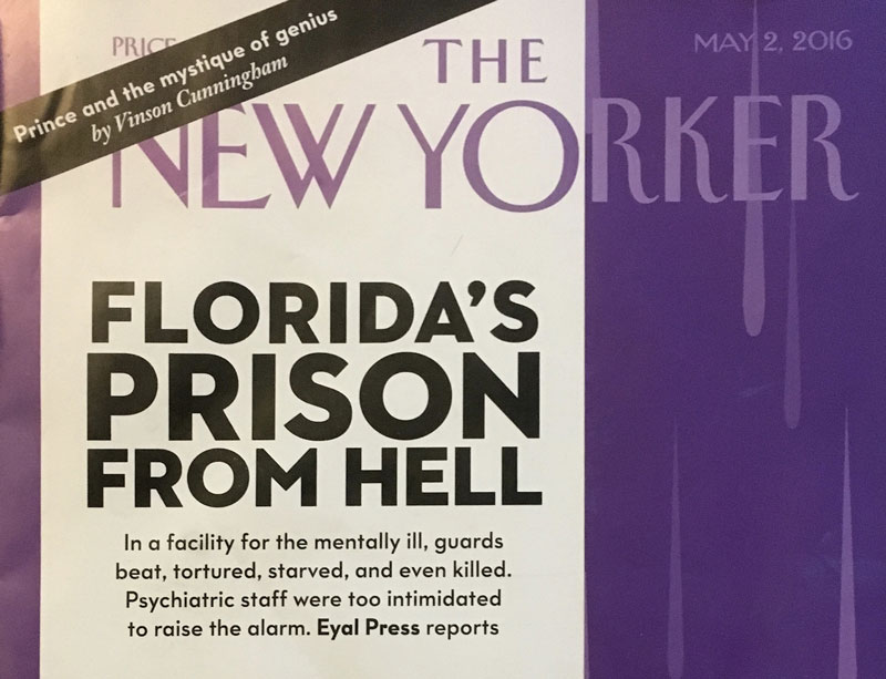 New Yorker magazine cover half wrap promo: Florida Prison's from Hell